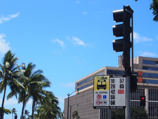 ハワイ バス停
