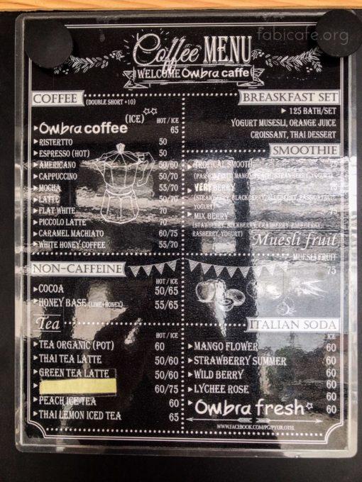 ombra cafe メニュー